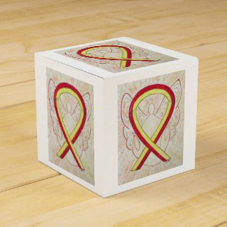 Red and Yellow Awareness Ribbon Party Favor Box