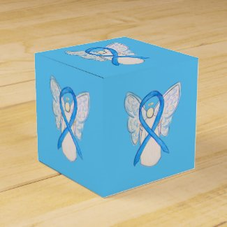 Light Blue Awareness Ribbon Angel Party Favor Box