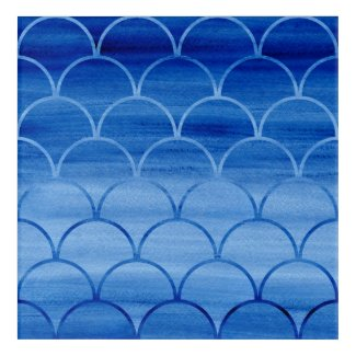 Lovely Prussian Blue Watercolor Scales Acrylic Wall Art