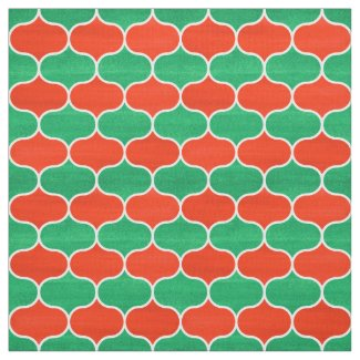 Christmas Red and Green Geometric Ogee Pattern Fabric