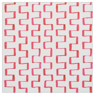 Red Geometric Painted Pattern Fabric