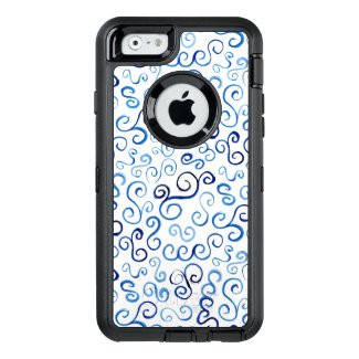 Painted Blue Abstract Curvy Pattern OtterBox iPhone 6/6s Case
