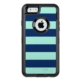Rugged Mint Green and Navy Stripes OtterBox iPhone 6/6s Case