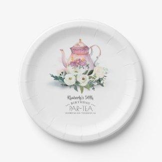 Teapot Floral Birthday Par-Tea Paper Plate