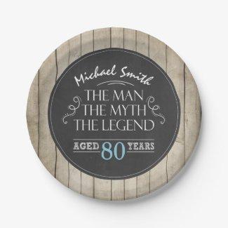 Man Birthday Plates Man Myth Legend Rustic Adult