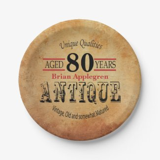 Aged, Antique and Vintage 90th Birthday Design Paper Plate