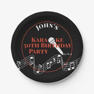 Karaoke Birthday Party Microphone Musical Scale Paper Plate