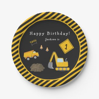 Construction Happy Birthday - Name and Age Boy Paper Plate