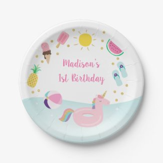 Girls Pool Party Ice Cream Sunshine Birthday Paper Plate