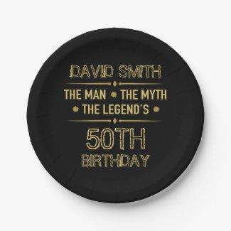 80th Birthday Man Myth Legend Paper Plate