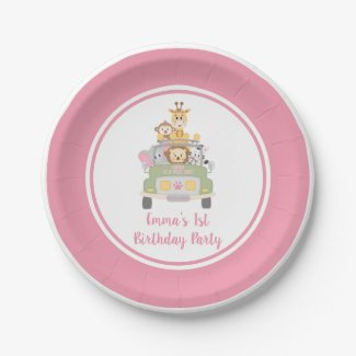 Wild One Safari Pink Girl's 1st Birthday Party Paper Plate