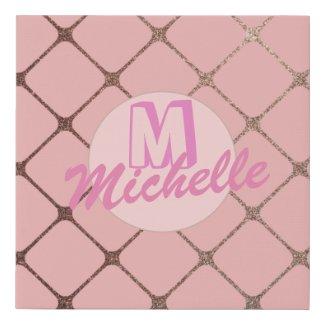 Rose Gold Blush Pink Girly Glitter Monogram Name Faux Canvas Print