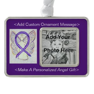 Orchid Awareness Ribbon Angel Personalized Photo Ornaments