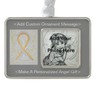Silver and Gold Awareness Ribbon Angel Ornament