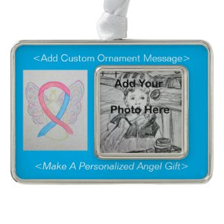 Pink and Blue Awareness Ribbon Angel Ornament
