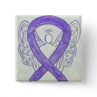 Orchid Awareness Ribbon Angel Customized Art Lapel Pins