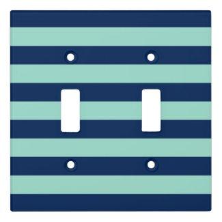 Fun Dark Blue and Seafoam Green Stripes Switch Plate Cover