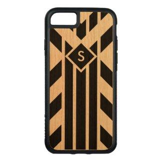 Black Stripes & Parallelograms on Wood, Monogram Carved iPhone 7 Case