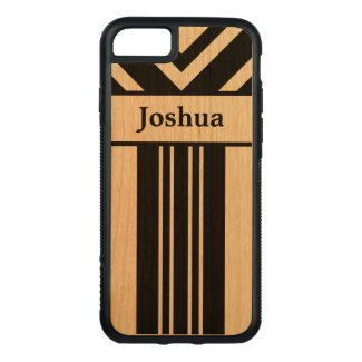 Black Stripes and Chevrons with Your Name on Wood Carved iPhone 7 Case