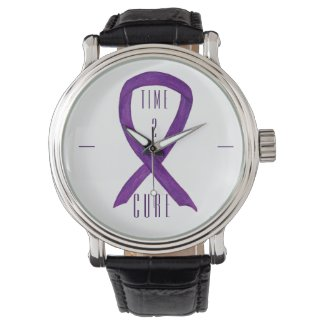 Time 2 Cure Purple Awareness Ribbon Wrist Watch
