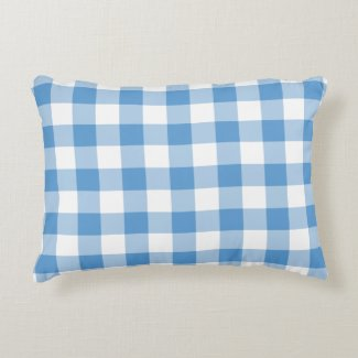 Light Blue and White Gingham Pattern Accent Pillow