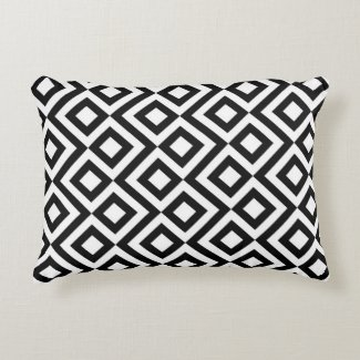 Black and White Meander Pattern Decorative Pillow