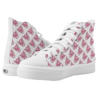 Pink Awareness Ribbon Angel Custom High Tops