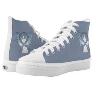 Gray Awareness Ribbon Angel Custom Shoes