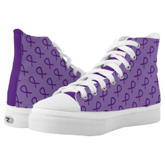 Purple Awareness Ribbon Custom Sneakers
