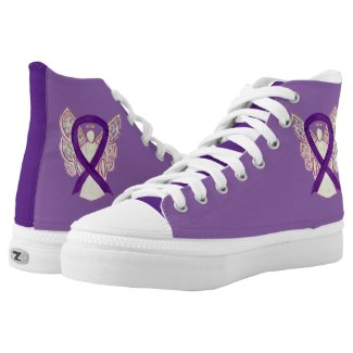 Purple Awareness Ribbon Angel Custom Design Shoes
