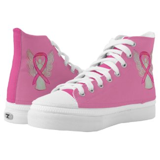 Pink Awareness Ribbon Angel Custom Design Shoes