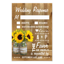 Mason Jar Burlap Lace Sunflower Wedding RSVP Cards