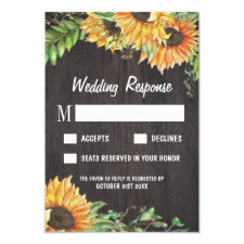 Sunflower Watercolor Country Wedding RSVP Cards