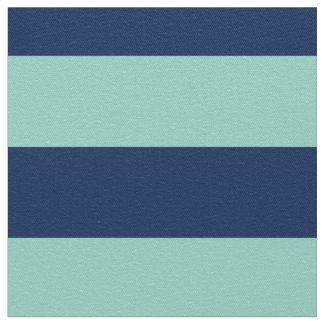 Geometric Seafoam Green and Navy Stripes Fabric