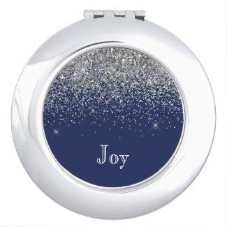 Silver Navy Blue Girly Glitter Sparkle Monogram Compact Mirror
