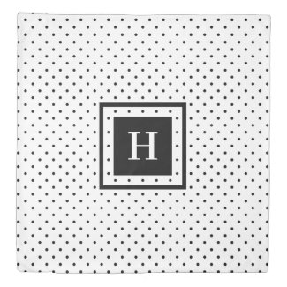 Modern Monogram Black Polka Dot Pattern on White Duvet Cover