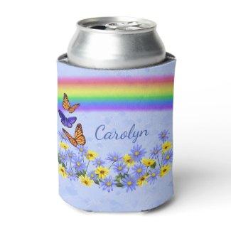 Pretty Butterflies and Daisies Spring Garden Can Cooler