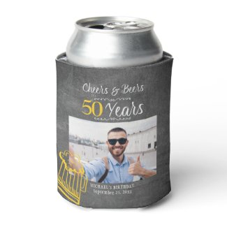 Cheers and beers to 30 years men birthday photo can cooler