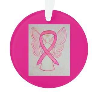 Pink Awareness Ribbon Angel Customized Ornaments