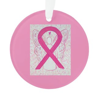 Hot Pink Awareness Ribbon Custom Ornaments