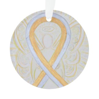 Silver and Gold Awareness Ribbon Custom Ornaments