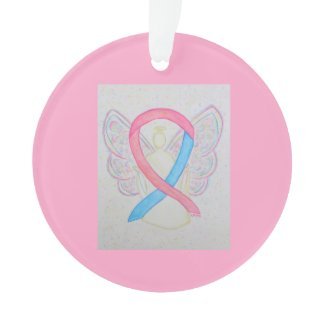 Pink and Blue Awareness Ribbon Angel Ornaments