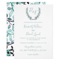Watercolor Leaves Laurel Monogram Wedding Invitations