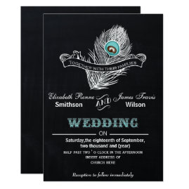 Vintage Chalk Peacock Wedding Invitations