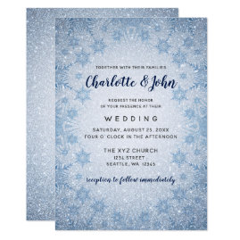 Glitter Blue Snowflakes winter wedding invitation
