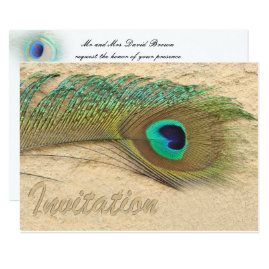 Beach Peacock Wedding Invitations