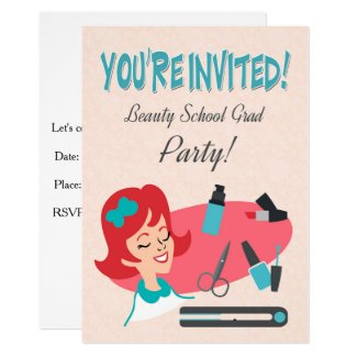 Retro Invite for a Beauty School Graduate Party