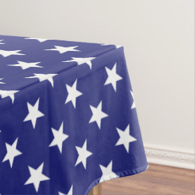 Patriotic White Stars on Nautical Blue Tablecloth