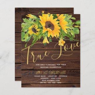 Budget Rustic Sunflowers Wood Wedding Invitations