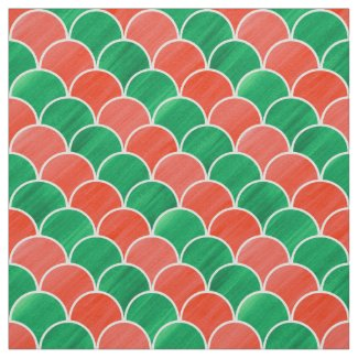 Christmas Red Green Scale Pattern Fabric